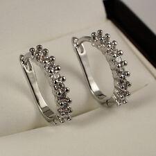 Elegant 18ct White Gold Filled Clear Crystal CZ Huggie Hoop Earrings Gift UK 302