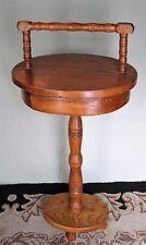 VINTAGE SOLID OAK SIDE TABLE/STAND w/DRAWER & HANDLE ORIGINAL FINISH