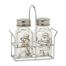 SANTA AND FROSTY SNOWMAN Glass Salt & Pepper set Dept 56 Christmas NEW