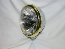 "Chrome Plated 5-3/4"" Headlight with Brass Plated Trim Ring; Chopper, Bobber,"