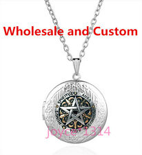 Pentagram Wiccan Cabochon silver Glass Chain Locket Pendant Necklace #SW-8