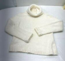 NEW Angora Blend Turtleneck Sweater Womens L Super Soft Ivory White Knit
