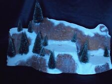 Christmas Dept 56 Large Village Mountain with Frosted sisal Trees U.S.A (14 pc)