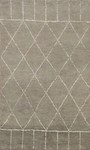 Modern Trellis Moroccan Oriental Area Rug Hand-knotted Contemporary Carpet 4x6
