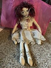 Unique Hand Made Rag Doll With Red Hair and Lace Clothing Good Condition.