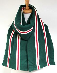 """VTG 10""""x76"""" England GREEN RED WHITE STRIPS 100%WOOL DOUBLE LAYER SCARF"""