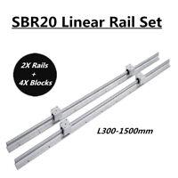 2X SBR20 L200-1500mm Linear Rail Slide Shaft Rod with 4X SBR20UU Bearing Blocks