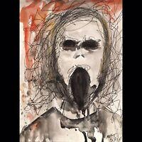 Matt Scalf Creepy Face ORIGINAL PAINTING Watercolor 9x12 Horror Haunted Goth