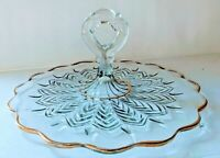 Vintage Mid Century Gold Trim Feather Serving Tray Handled Jeannette Glass