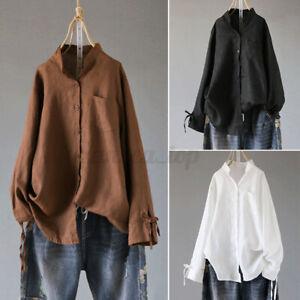 New Women Long Sleeve Summer Shirt Tops Round Neck Plain Loose Blouse