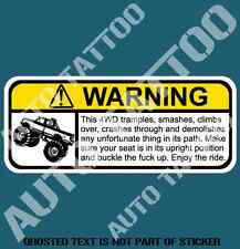 4WD WARNING DECAL STICKER HUMOUR FUNNY NOVELTY VEHICLE AWD 4WD DECALS STICKERS