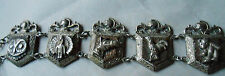 Vtg Mexico Sterling Silver Bracelet Knights Owl Horse Bear Turtle Rooster Copper