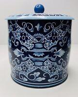 "Vintage Daher England Long Island NY  Floral 6"" Tall Tin Knob Lid Blue Moroccan"