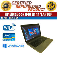 "HP EliteBook 840 G1 14"" Intel i5 8 GB RAM 500 GB HDD Win 10 WiFi B Grade Laptop"