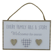 Plaque Every Family Has A Story Welcome To Ours Wooden Sign Gift