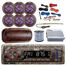 "Marine Bluetooth Radio + Cover, 6x 6.5"" LED Speakers, Amp + Kit, Antenna, Wire"