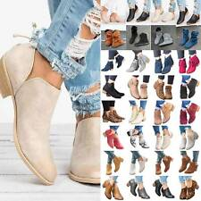 Womens Zipper Mid Block Heel Shoes Ankle Booties Pointed Toe Ladies Casual Boots