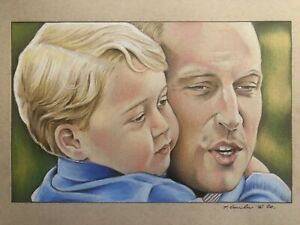 Prince William And Prince George Original Pencil Drawing . Fan-ART A4