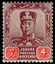 More details for malaysia - johore sg81, 4c  dull purple & carmine, nh mint. cat £29.