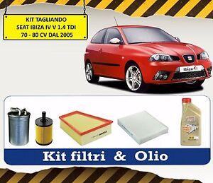 KIT TAGLIANDO OLIO CASTROL + 4 FILTRI SEAT IBIZA IV V 1.4 TDI 70 80 CV DAL 2005