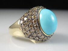 Turquoise Diamond Ring LeVian 14K Yellow Gold Fine Jewelry 10.88ctw Size 10.25