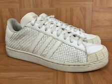 VTG🔥 Adidas Half-Shells Lo Weave Woven Leather Sz 11 748842 White Metallic Used