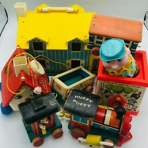 Vintage 1960s Fisher Price Lot House, Goldilocks Huffy Puffy Train Jack in Box