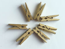 20 mini wooden pegs, photo/card clips 30mm long gold