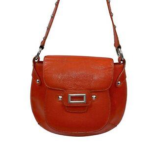 Cynthia Rowley orange pebbled leather Shoulder bag Handbag mandarin Purse