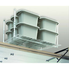 Overhead Storage System 45x45in Garage Attic Work Shop White Metal Rack Shelf