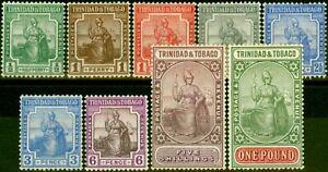 Trinidad & Tobago 1921-22 Set of 9 SG206-215 V.F & Fresh Mtd Mint