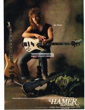 1990 HAMER Electric Bass Guitar KIP WINGER Vtg Print Ad