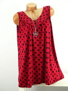 Shirt mit Kette Top Tunika Lagenlook Größe 46- 52 one size rot schwarz  Punkte w