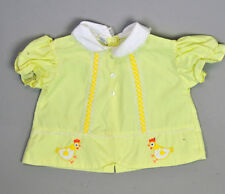 VTG baby girl applique embroidered yellow Chickes dress shirt SO CUTE 18M