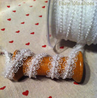 Lace and Pearl Beaded Ribbon Bridal Trim Trimming -20mm wide IVORY WHITE May Art