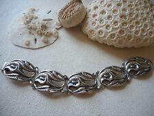Vintage Sterling Silver Oxidized Danecraft Calla Lily Link Bracelet   952102