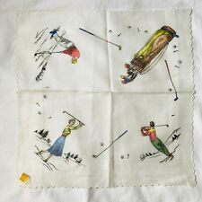 NWT Vintage 1950s Golf Novelty Print Created by Kimball Hankie Handkerchief