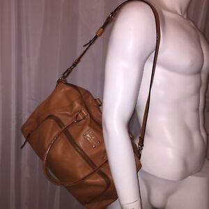 pre-loved auth KATE SPADE tan leather zip top SATCHEL $499