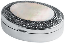 MARCASITE & MOTHER OF PEARL OVAL PILLBOX 925 SILVER HALLMARKED FROM ARI D NORMAN