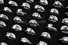 wholesale lots 10pcs 100% Zirconia Engagement Wedding Silver Plate Rings