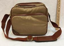 Padded Camera Bag Carrying Case Brown Canvas Shoulder Strap 11x9 3 Pockets
