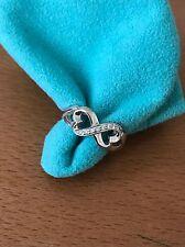 Tiffany &Co 18K White Gold Paloma Diamond Double Loving Heart Ring Sz 5 With Box