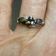 Tunduru Colour Change Sapphire & White Topaz Sterling Silver Ring 1.96cts