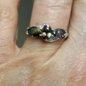 RARE Tunduru Colour Change Sapphire & Topaz Sterling Silver Ring 1.96cts L - M