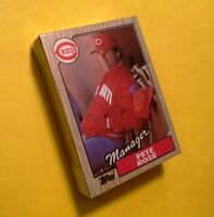 50) PETE ROSE Cincinnati Reds Team Checklist 1987 Topps Baseball Card #393 LOT