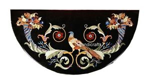 24 x 48 Inches Marble Inlay Patio Table Top with Royal Pattern Console Table Top