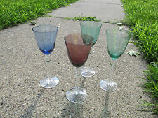 "Vintage Wine Glasses Lot Nice Colors 7 1/2"" Tall Sweet Colors In Great Condition"