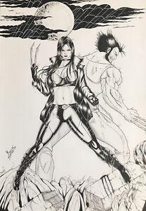 """Wolverine & X-23 (12""""x17"""") Original Art By Marcos Santiago - Ed Benes Studios"""