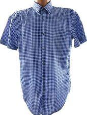 HUGO BOSS Mens Large Slim Fit Blue Plaid Short Sleeve Button Front Shirt
