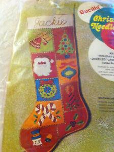 Vtg Bucilla Needlecraft Jeweled Christmas Stocking Holiday Ornaments NIP sealed